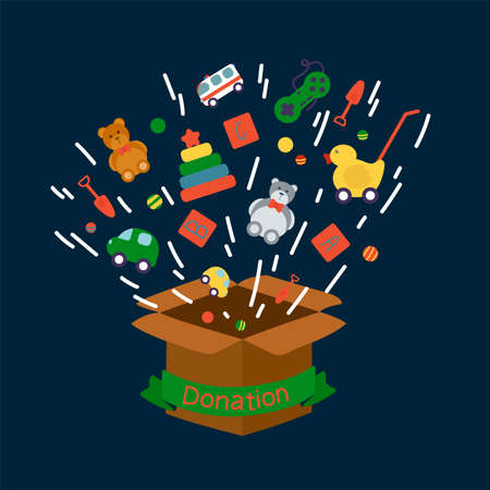 The concept of donating toys. A set of children's toys fly into the box. Isolated vector children's objects o for games. Pyramid, Bear, Duck, Car, Rattles, Balls. Vector illustration Vetores