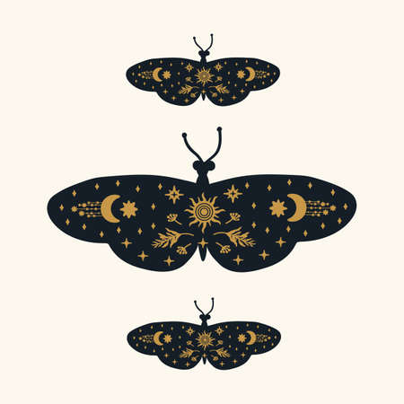 Poster of Black butterflies with gold patterns. Moths with golden doodles on the wings of soaring dark butterflies. Mystical wings with moths for a postcard. Vector illustration