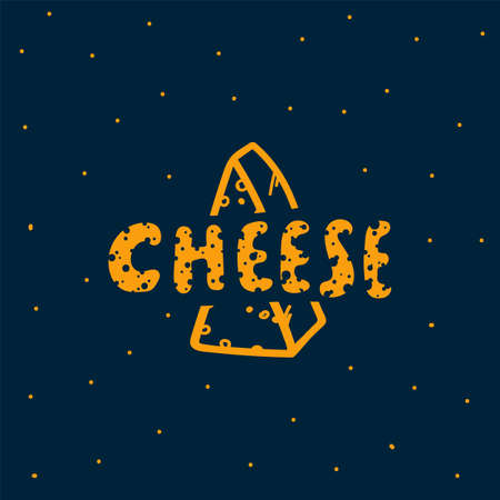 Vector illustration of cheese is a dairy product. Hand-drawn doodle poster with the inscription Cheese. Linear drawings of Cheese in a circle of dots with letters. Vector illustration