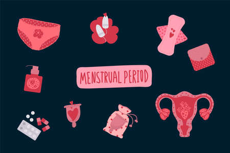 A set of menstruation vectors. Illustration of the female menstrual period. With elements of hygiene products, tampons, pads, menstrual cup. Vector illustration