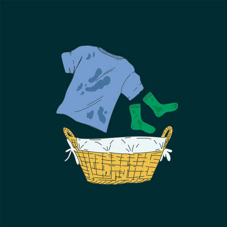 Illustration for the Laundry service. Cartoon household items for washing. A basket with dirty laundry. A T-shirt with spots and socks. Illustration for a laundry room. Vector illustration