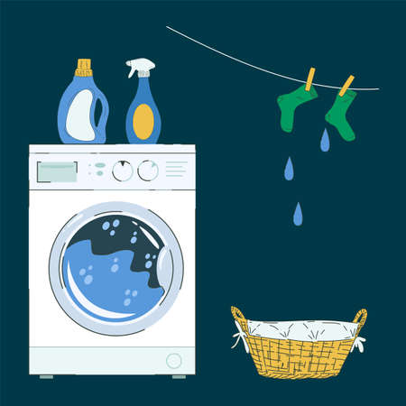 Illustration of a laundry room or service. Washing machine with detergents and a laundry basket. Vector image in the style of a flat laundry service. Vector illustration Vecteurs