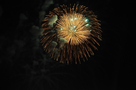 fire works: Celebration with fire works on the night sky