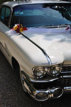 White stylish wedding limousine decorated with flowers photo