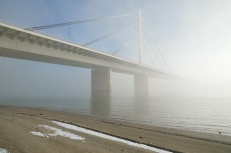 Winter morning by Danube river with bridge in fog photo