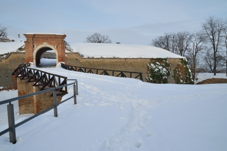 Detail of Peterwardein fortress covered with snow photo