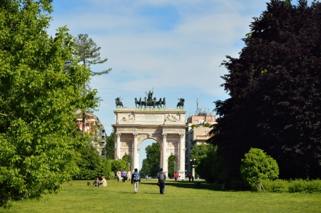 City park in Milan with triumphal arch photo