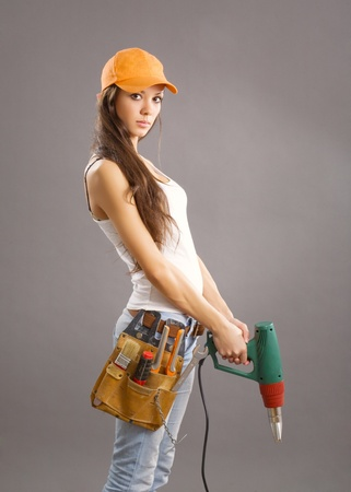 sexy young woman construction worker  photo