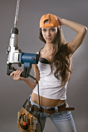 sexy young woman construction worker Stock Photo - 9461206
