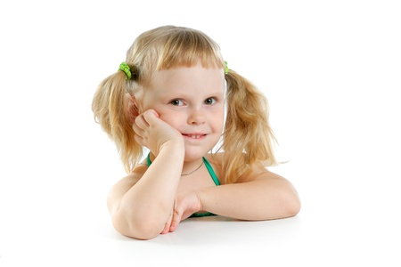 cute little girl in studio on white background Stock Photo - 11153605