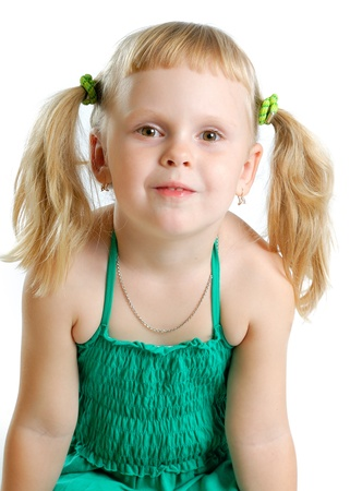 cute little girl in studio on white background  Stock Photo - 11153610