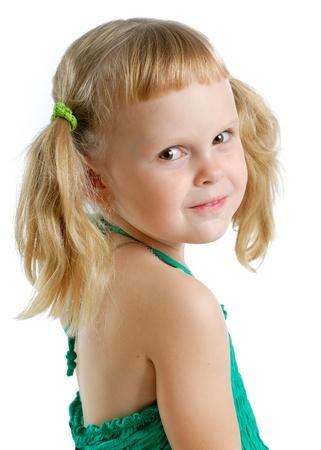 cute little girl in studio on white background Stock Photo - 11153607