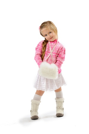 little girl in studio on white background  Stock Photo - 11545930