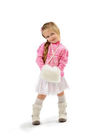 little girl in studio on white background Stock Photo - 11545930