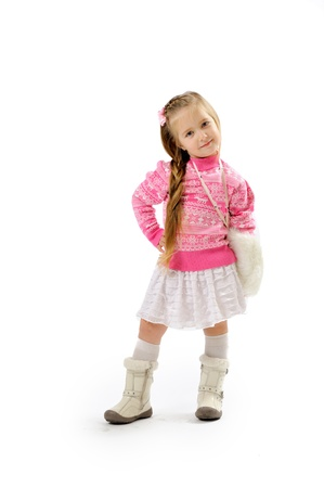 little girl in studio on white background  Stock Photo - 11545928