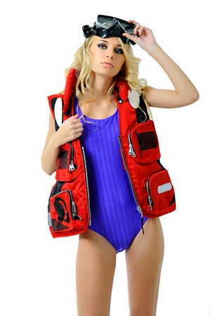diver: girl in a fishing outfit on white background