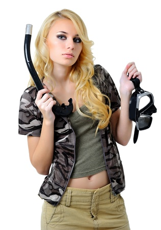 Beautiful blonde girl in scuba gear photo