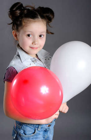 portrait of little girl with balloons Stock Photo - 12631409