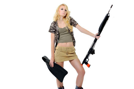 snorkle: girl in a fishing outfit on white background