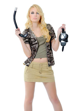 girl in a fishing outfit on white background photo