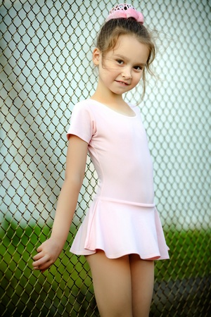 portrait of a young girl in a gym suit Archivio Fotografico