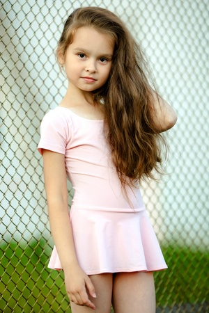 portrait of a young girl in a gym suit Stock Photo