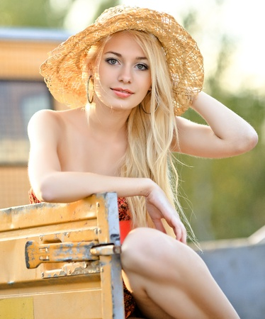 portrait of a beautiful girl on a summer evening sun Stock Photo