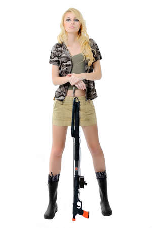 girl in a fishing outfit on white background Stock Photo - 12631458
