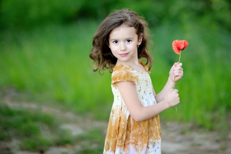 Portrait of Little girl with a flower poppy Stock Photo - 13964396