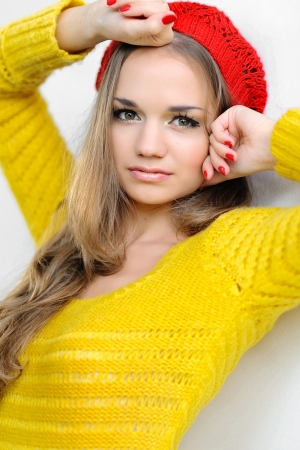 portrait of a beautiful girl in autumn clothes photo