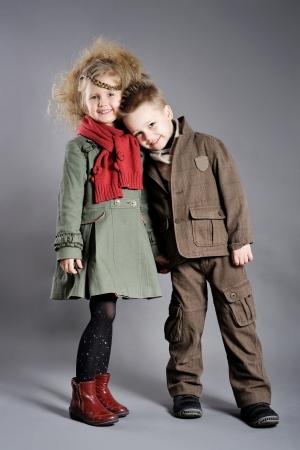 portrait of little boys and girls in the studio  Archivio Fotografico
