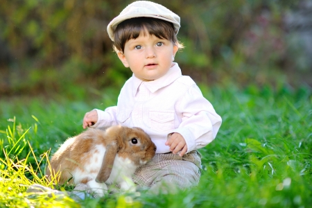 portrait of a baby boy with a rabbit photo
