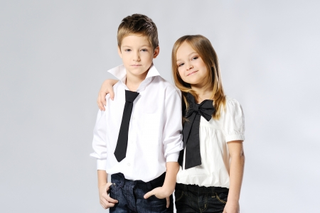 portrait of little boys and girls in the studio  Stock Photo