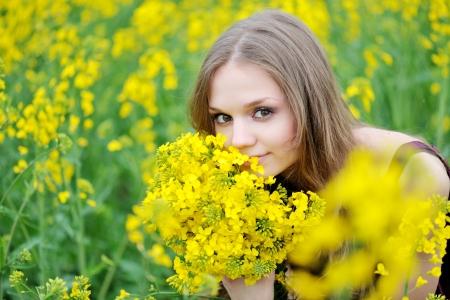 portrait of a beautiful girl in spring photo