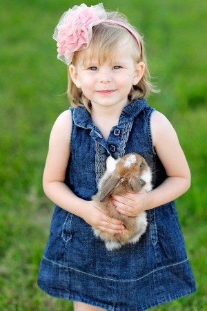 portrait of little girl outdoors  photo