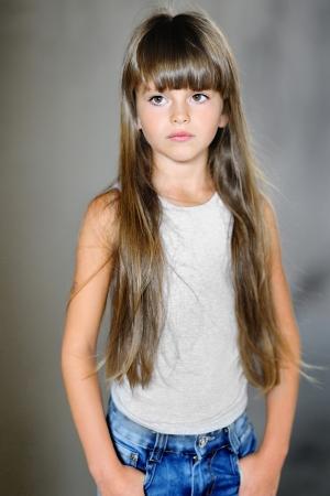 portrait of a beautiful little brunette girl Archivio Fotografico