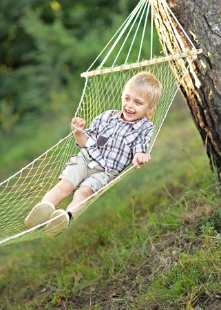 mirth: Portrait of a boy on vacation in summer camp Stock Photo