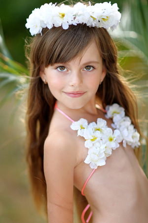portrait of little girl in tropical style Archivio Fotografico