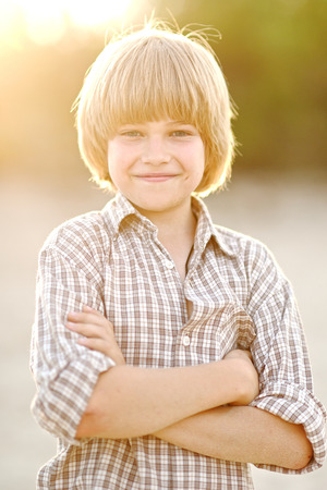 exhilaration: Portrait of a boy on vacation in summer camp Stock Photo