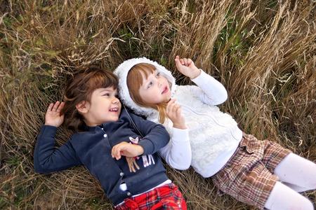Portrait of two girls in the woods girlfriends