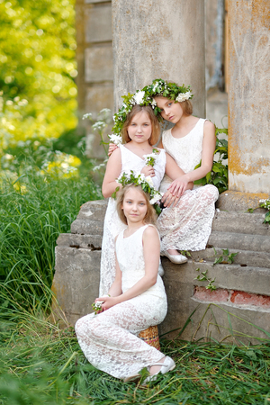 three girls: portrait of three girls in a wedding style