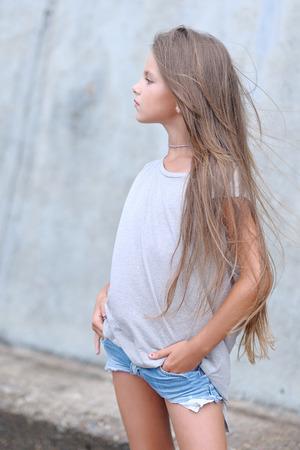 portrait of little girl outdoors in summer Archivio Fotografico