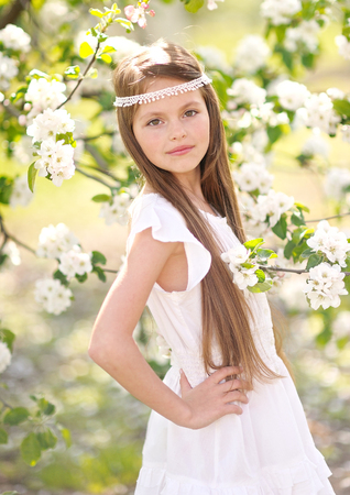 portrait of little girl outdoors in summer Stock Photo