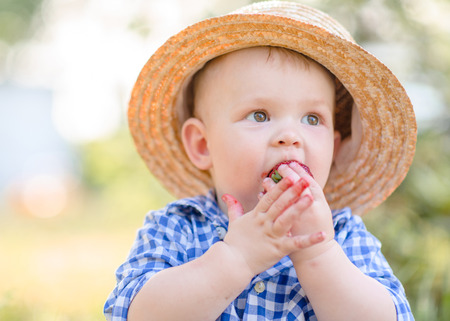 portrait of a Little boy playing in summer nature Stock Photo
