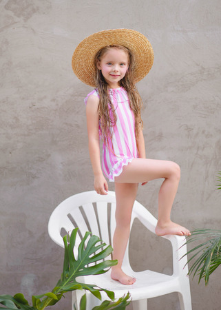 portrait of little girl outdoors in summer Archivio Fotografico