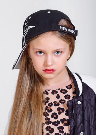 portrait of little model girl in studio Stock Photo