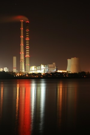 power station: power station by night Stock Photo