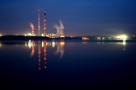 generating station: Power station by night