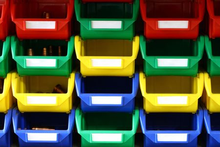 storage bin: colorful plastic containers Stock Photo