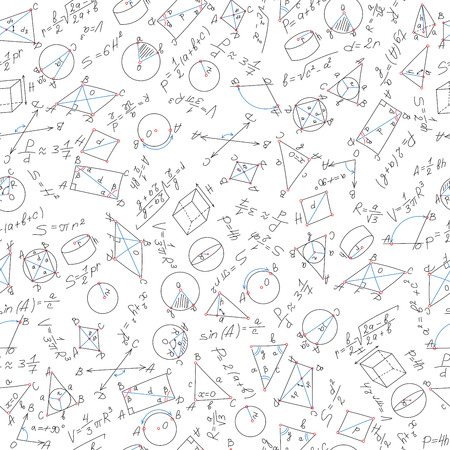 teorema: Seamless pattern on the theme of learning and geometry in black marker on a white background with formulas and graphs